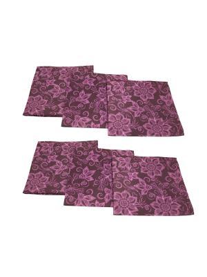 Салфетки Аметистовый цветок, 6 шт BELLINO HOME. Цвет: сливовый, бордовый