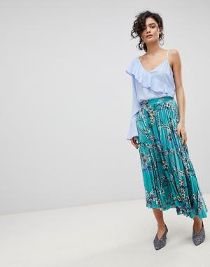 Gestuz Длинная юбка с плиссировкой и цветочным принтом. Цвет: мульти