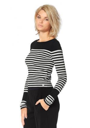 Пуловер Laura Scott. Цвет: серый/цвет белой шерсти, черный/цвет белой шерсти в полоску