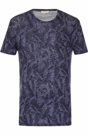 Льняная футболка с принтом Daniele Fiesoli. Цвет: темно-синий