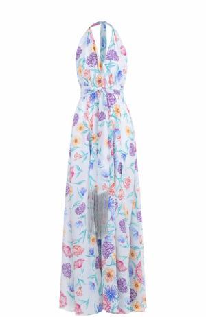 Шелковое платье-макси с открытой спиной Lazul. Цвет: разноцветный