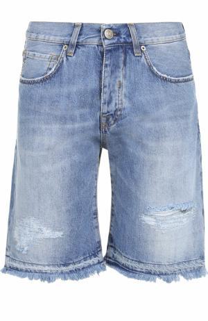 Джинсовые шорты с необработанным краем 2 Men Jeans. Цвет: синий