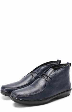 Кожаные ботинки на шнуровке с внутренней меховой отделкой Aldo Brue. Цвет: темно-синий