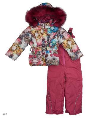 Зимний Комплект для девочки Алмазы Пралеска. Цвет: красный