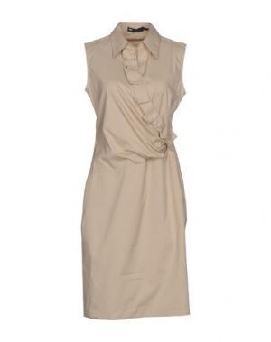 Платье до колена 6267. Цвет: бежевый