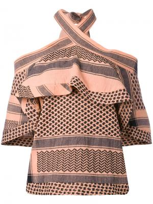Топ с открытыми плечами Topango Cecilie Copenhagen. Цвет: розовый и фиолетовый