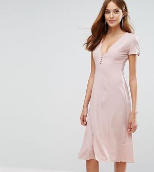 Alter Tall Платье миди с короткими рукавами и пуговицами спереди. Цвет: розовый