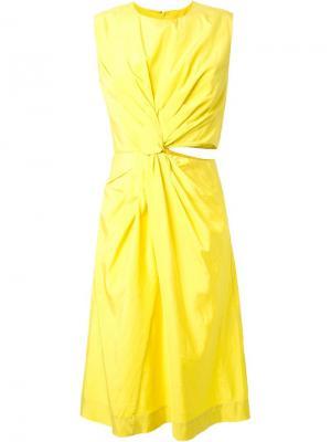 Платье Habotai Jil Sander. Цвет: жёлтый и оранжевый