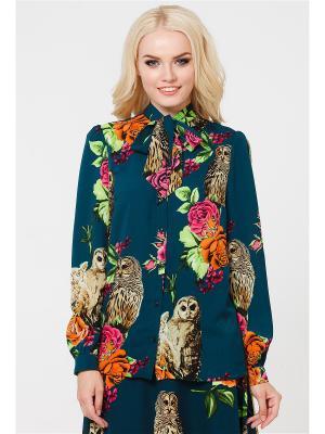 Блузка MARY MEA. Цвет: морская волна