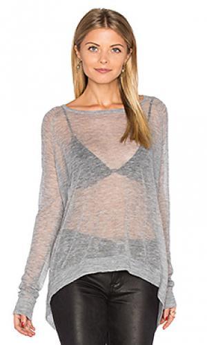 Прозрачный свитер с овальным вырезом Autumn Cashmere. Цвет: серый
