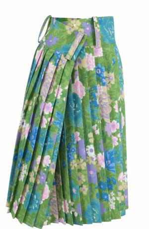 Плиссированная юбка-миди асимметричного кроя Balenciaga. Цвет: зеленый