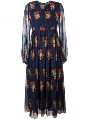 Платье с цветочным принтом Manoush. Цвет: синий