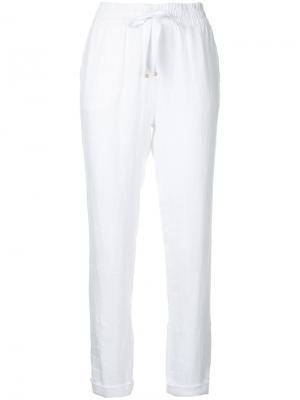 Укороченные брюки с эластичным поясом Venroy. Цвет: белый