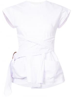 Блузка в тонкую полоску с завязками на талии Isa Arfen. Цвет: розовый и фиолетовый