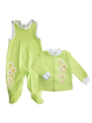 Набор одежды: кофточка, полукомбинезон Коллекция Ромашки КОТМАРКОТ. Цвет: салатовый