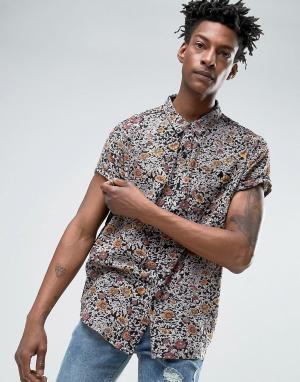 Rollas Черная рубашка с цветочным принтом. Цвет: черный