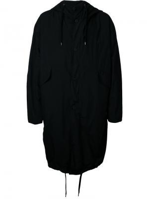 Пальто с капюшоном Teatora. Цвет: чёрный