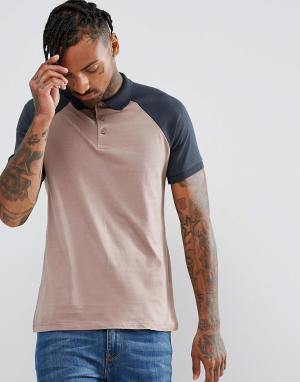 ASOS Трикотажная футболка-поло с контрастными рукавами реглан. Цвет: красный