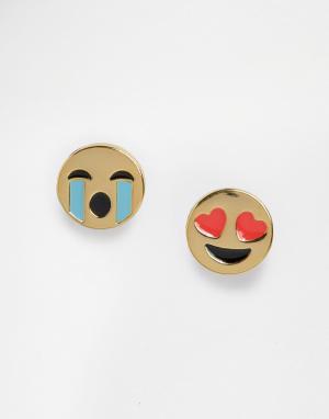 Me & Zena Непарные серьги-гвоздики. Цвет: золотой
