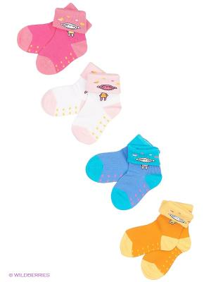 Носки, 4 пары Cascatto. Цвет: оранжевый