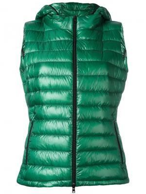 Пуховый жилет с капюшоном Herno. Цвет: зелёный