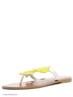 Шлепанцы VelVet. Цвет: желтый, белый