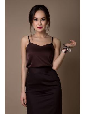 Блуза Welldress. Цвет: коричневый