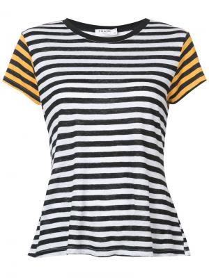 Полосатая футболка с контрастными рукавами Frame Denim. Цвет: чёрный