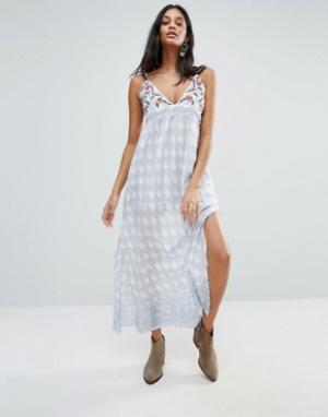 Raga Платье макси с принтом Santa Barbara. Цвет: синий