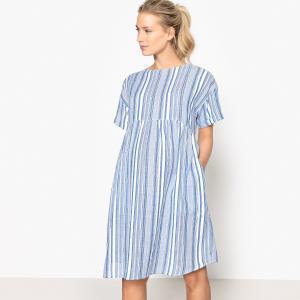 Платье для периода беременности с рисунком La Redoute Collections. Цвет: в полоску белый/синий
