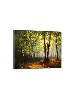 Art Холст Вечерний лес DECORETTO. Цвет: зеленый, желтый, черный