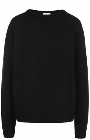 Шерстяной пуловер свободного кроя Dries Van Noten. Цвет: черный