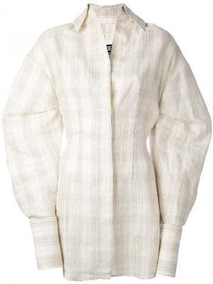 Платье-рубашка в клетку Jacquemus. Цвет: телесный