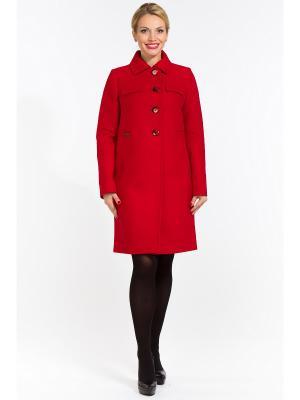 Пальто GallaLady. Цвет: красный