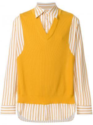 Рубашка в полоску с жилеткой Maison Margiela. Цвет: жёлтый и оранжевый