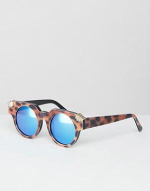 House of Holland Круглые солнцезащитные очки с синими зеркальными стеклами Hol. Цвет: коричневый