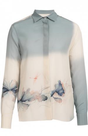 Шелковая блуза прямого кроя с цветочным принтом Valentino. Цвет: светло-голубой