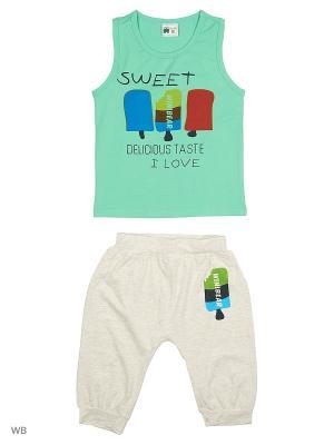 Комплект: майка и шорты Sago Kids i Ant Domain. Цвет: бирюзовый, светло-зеленый, серый