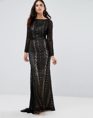 Forever Unique Платье макси с длинными рукавами и декоративной отделкой Uniqu. Цвет: черный