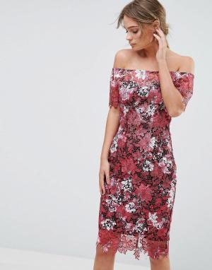 Paper Dolls Кружевное платье миди с открытыми плечами и цветочным рисунком D. Цвет: мульти