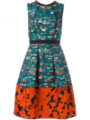 Платье-шифт с контрастным подолом Oscar de la Renta. Цвет: зелёный