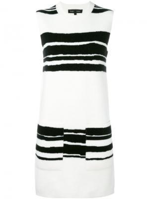 Платье-шифт в полоску Proenza Schouler. Цвет: белый