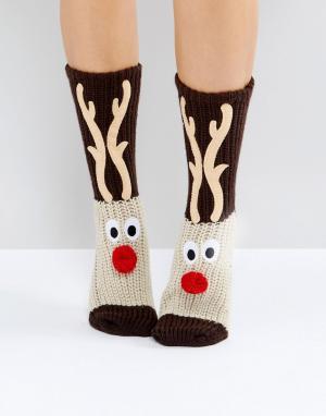 Loungeable Новогодние носки с оленями. Цвет: коричневый