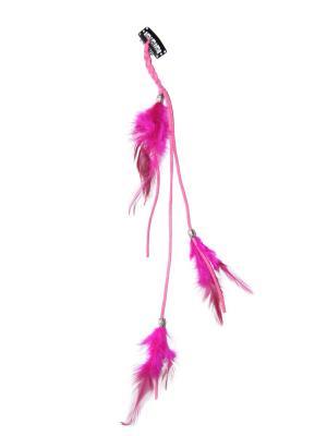 Зажим с перьями Lola. Цвет: малиновый