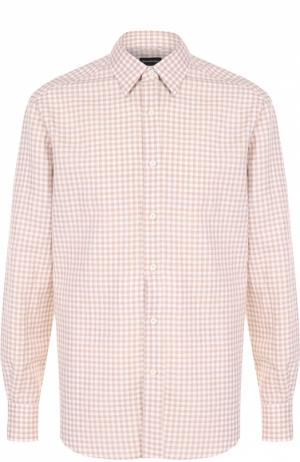 Рубашка из смеси хлопка и льна с воротником кент Ermenegildo Zegna. Цвет: бежевый