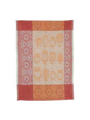 Полотенце полулен Совы Римейн. Цвет: оранжевый,розовый