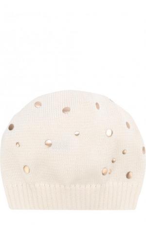 Хлопковая шапка с декором Catya. Цвет: бежевый