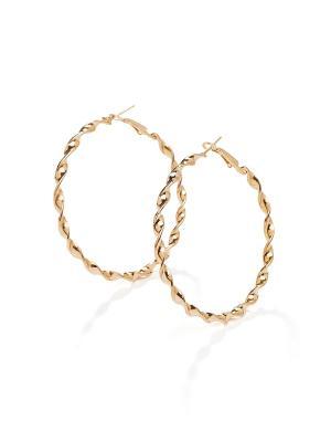 Крученые серьги кольца Знойная Африка, 6 см Nothing but Love. Цвет: золотистый