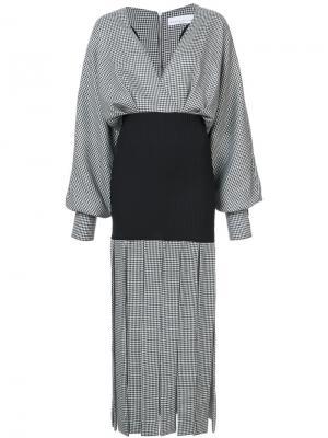 Платье в ломаную клетку с бахромой Wanda Nylon. Цвет: чёрный