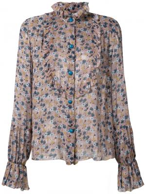 Блузка из шифона с цветочным рисунком Anna Sui. Цвет: телесный